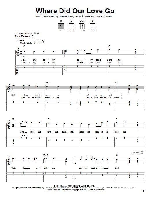 Tablature guitare Where Did Our Love Go de The Supremes - Tablature guitare facile