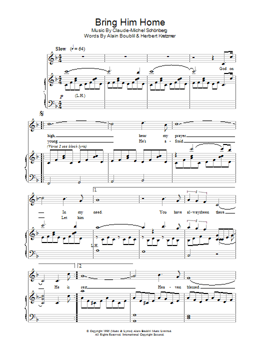 Bring Him Home (from Les Miserables) (Piano, Vocal & Guitar)