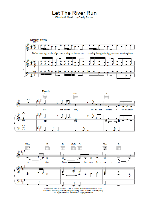 Let The River Run (Piano, Vocal & Guitar)