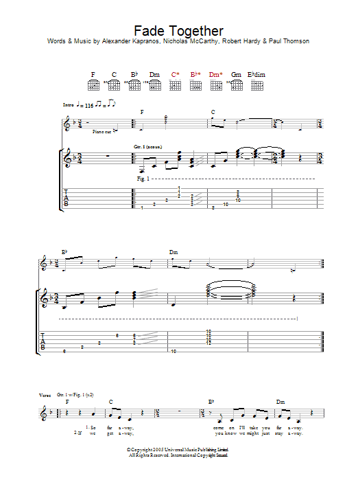 Fade Together (Guitar Tab)