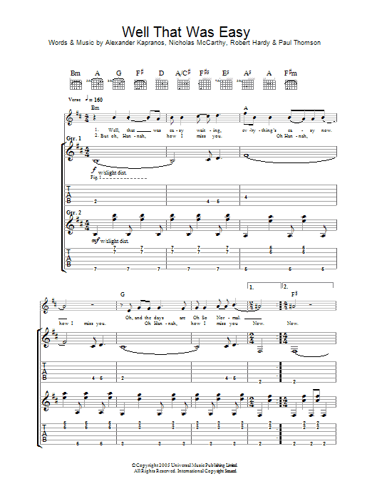 Well That Was Easy (Guitar Tab)