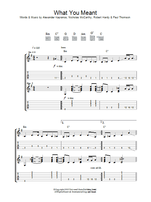 What You Meant (Guitar Tab)