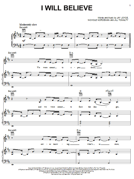 I Will Believe (Piano, Vocal & Guitar (Right-Hand Melody))