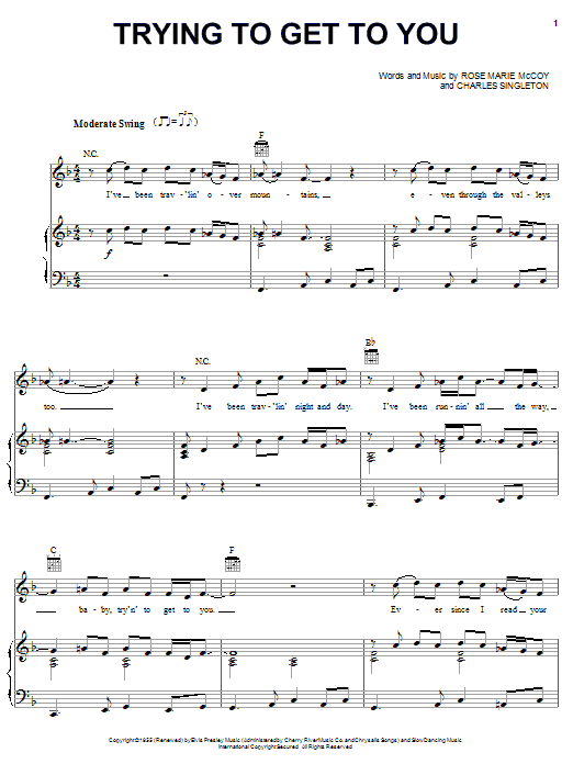 Trying To Get To You (Piano, Vocal & Guitar (Right-Hand Melody))