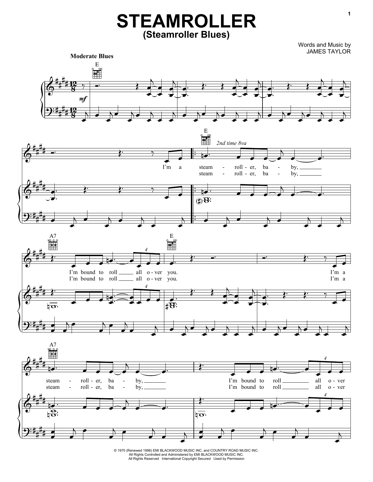Steamroller (Steamroller Blues) Sheet Music