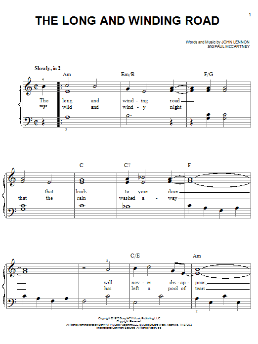 Partition piano The Long And Winding Road de The Beatles - Piano Facile