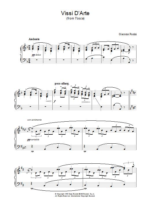 Vissi D'Arte (from Tosca) Sheet Music