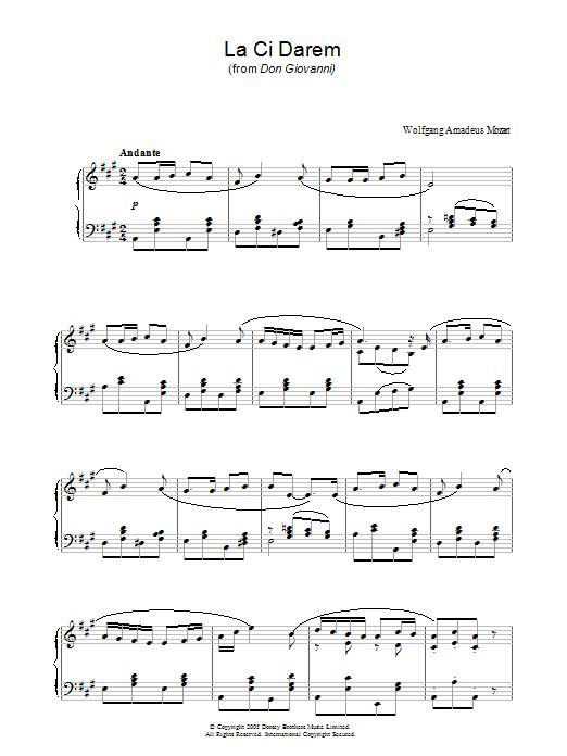 La Ci Darem La Mano (from Don Giovanni) (Piano Solo)
