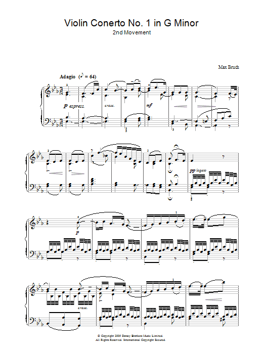 Violin Concerto No.1 In G Minor (2nd Movement) (Piano Solo)