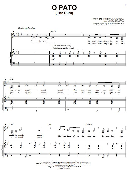 Partition piano O Pato (The Duck) de Karrin Allyson - Piano Voix Guitare (Mélodie Main Droite)