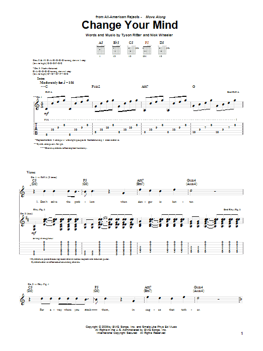 Tablature guitare Change Your Mind de The All-American Rejects - Tablature Guitare