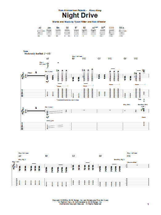 Tablature guitare Night Drive de The All-American Rejects - Tablature Guitare