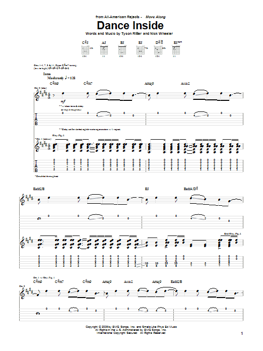 Tablature guitare Dance Inside de The All-American Rejects - Tablature Guitare