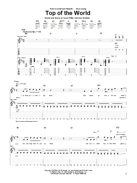 Tablature guitare Top Of The World de The All-American Rejects - Tablature Guitare
