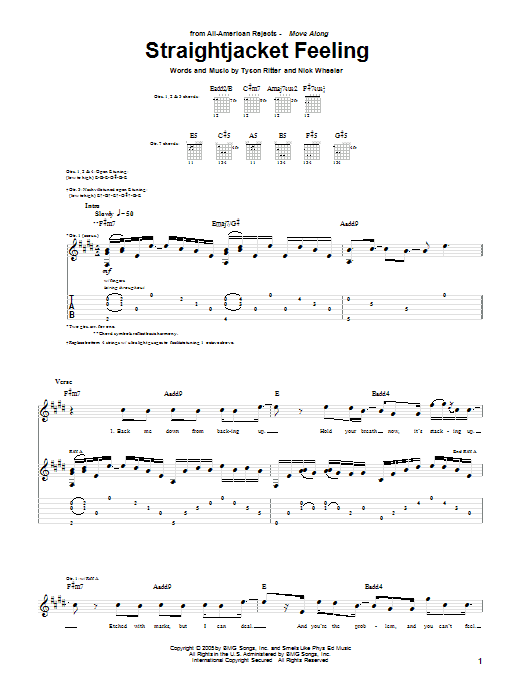 Straightjacket Feeling Sheet Music