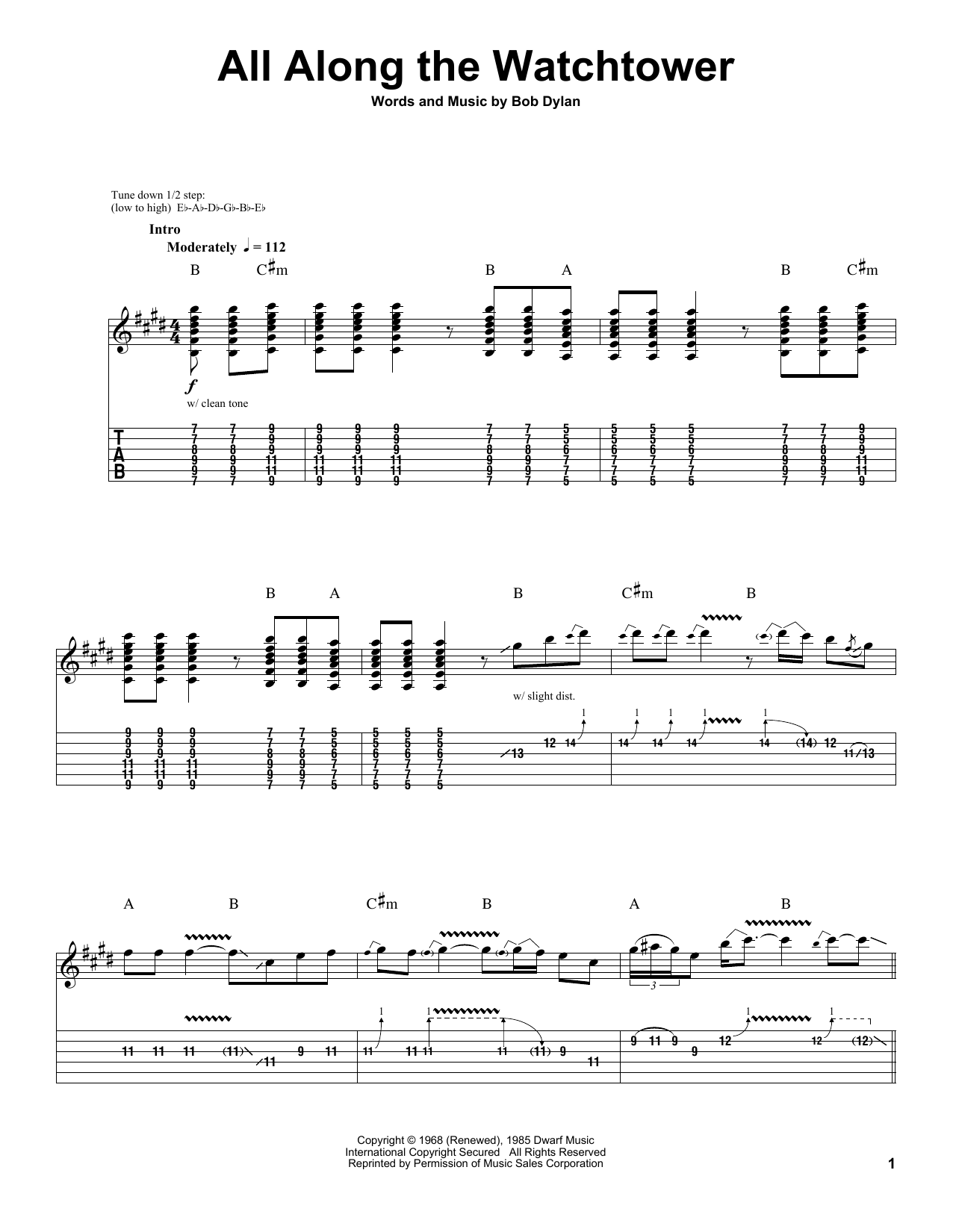 All Along The Watchtower by Jimi Hendrix - Guitar Tab Play-Along - Guitar Instructor