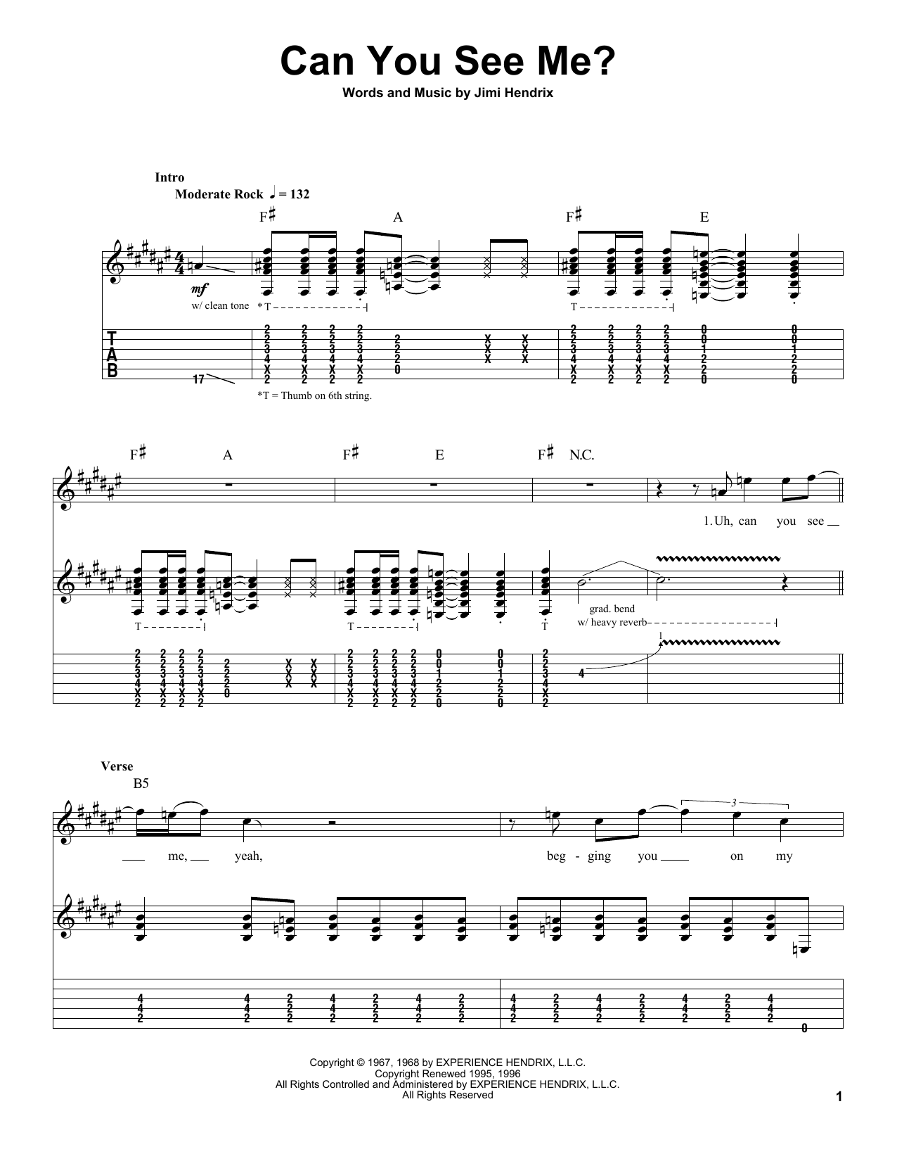 Tablature guitare Can You See Me? de Jimi Hendrix - Autre
