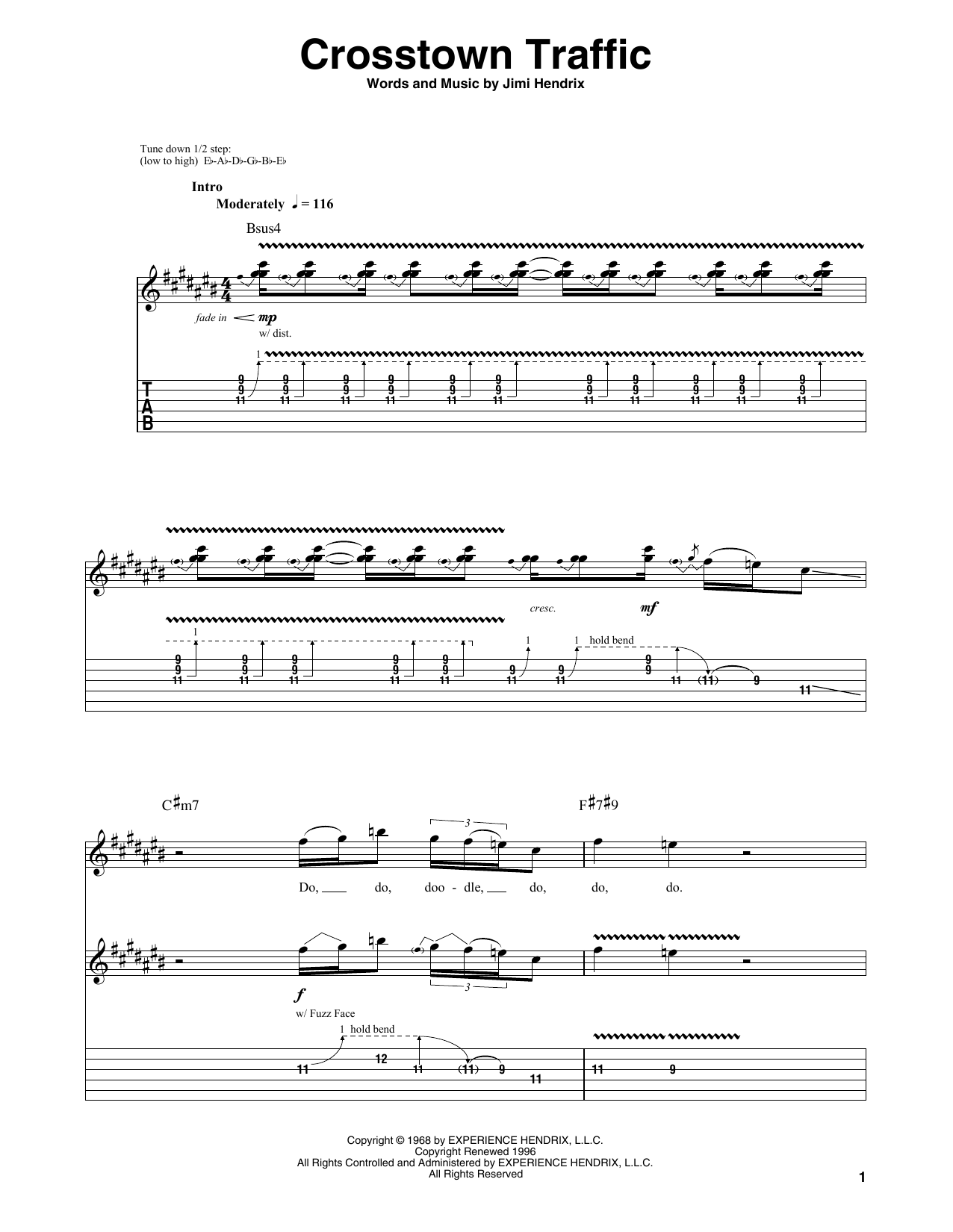 Tablature guitare Crosstown Traffic de Jimi Hendrix - Playback Guitare