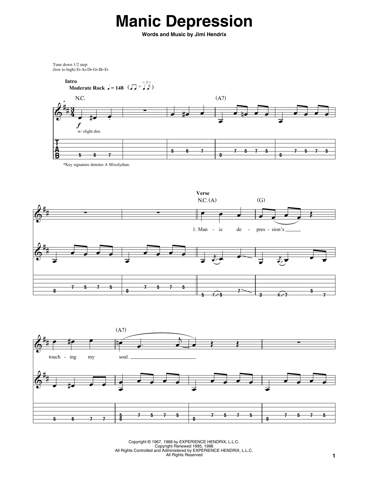 Tablature guitare Manic Depression de Jimi Hendrix - Autre
