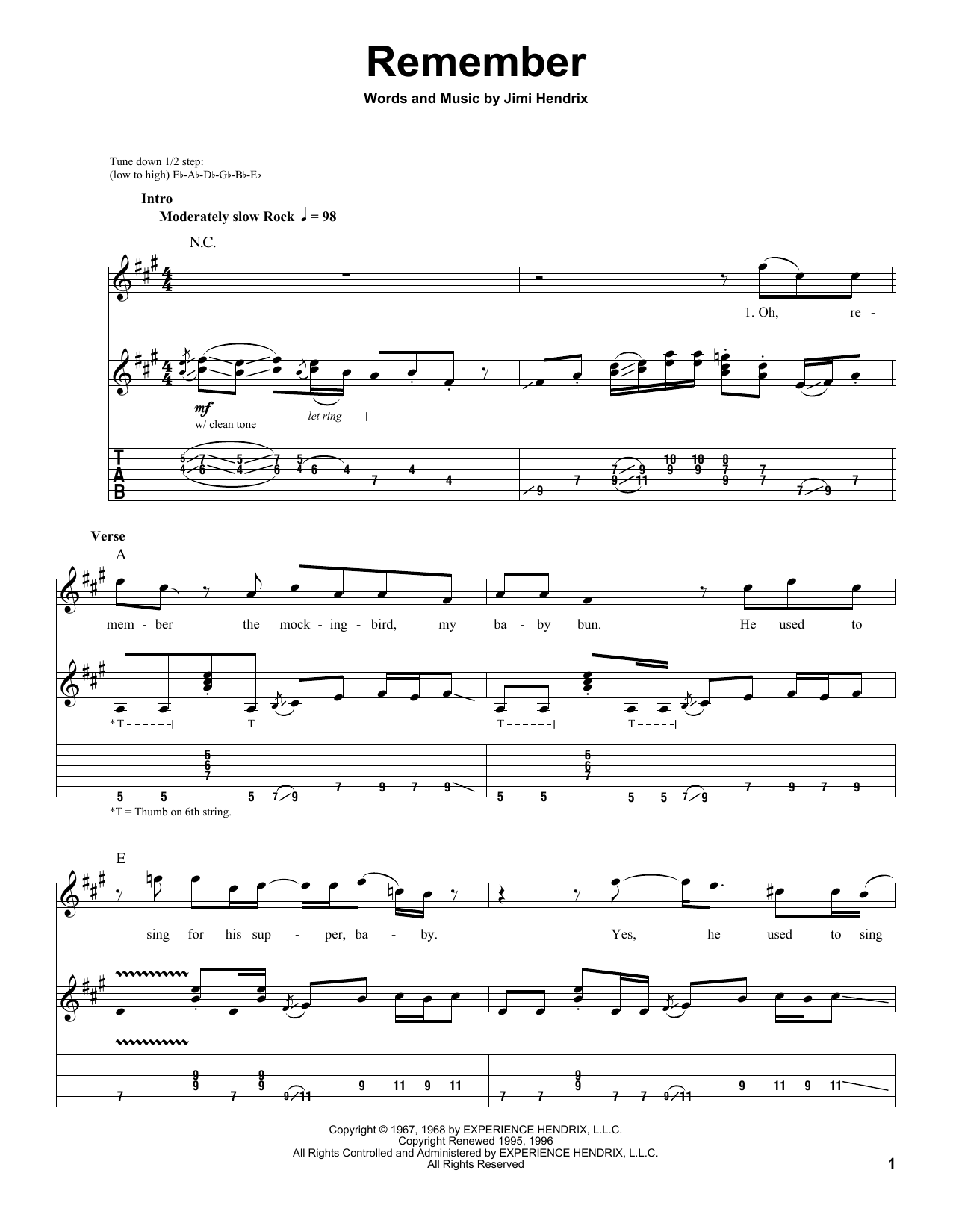 Tablature guitare Remember de Jimi Hendrix - Autre