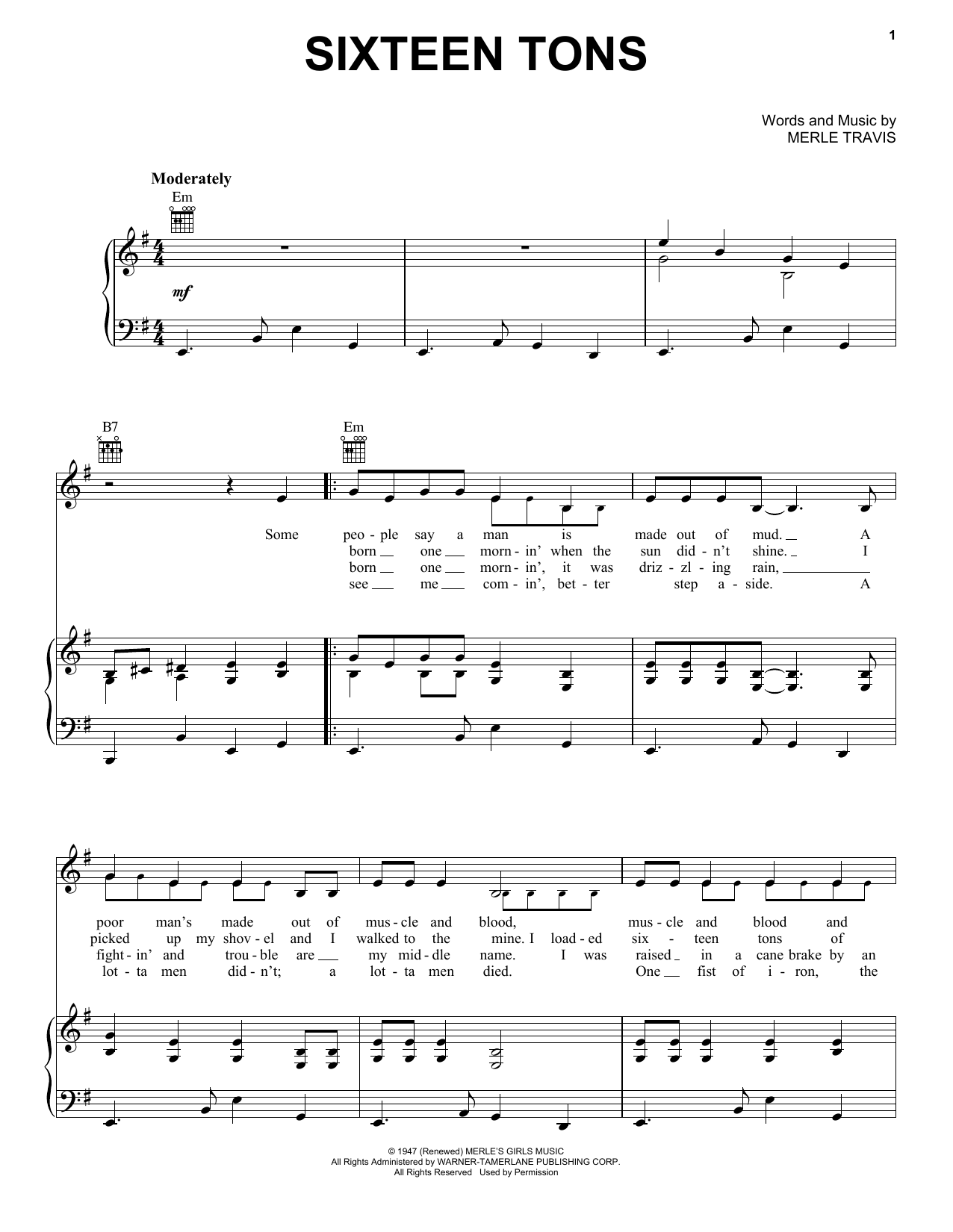 Sixteen Tons Sheet Music