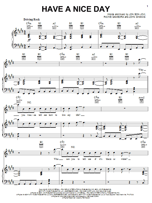 Have A Nice Day Sheet Music