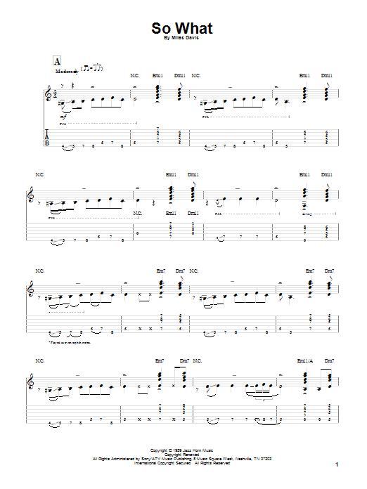 Tablature guitare So What de Miles Davis - Tablature Guitare