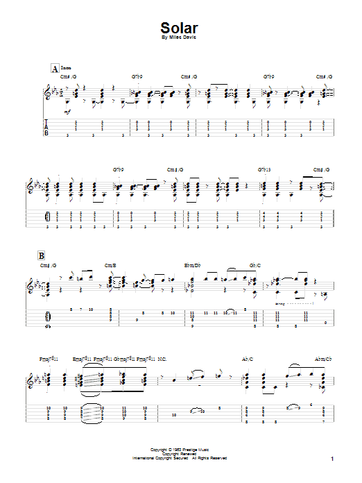 Tablature guitare Solar de Miles Davis - Tablature Guitare