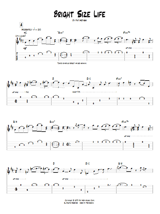 Tablature guitare Bright Size Life de Pat Metheny - Tablature Guitare