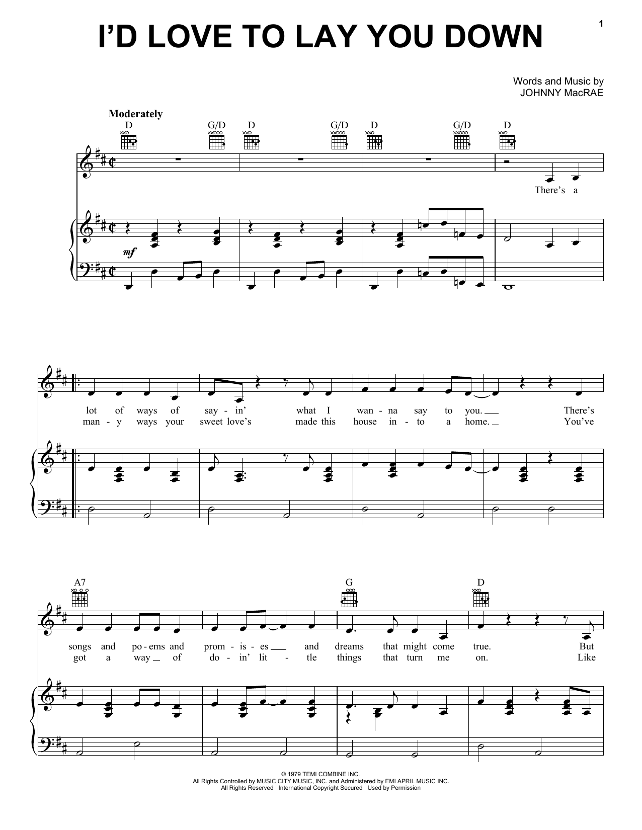 Partition piano I'd Love To Lay You Down de Conway Twitty - Piano Voix Guitare (Mélodie Main Droite)