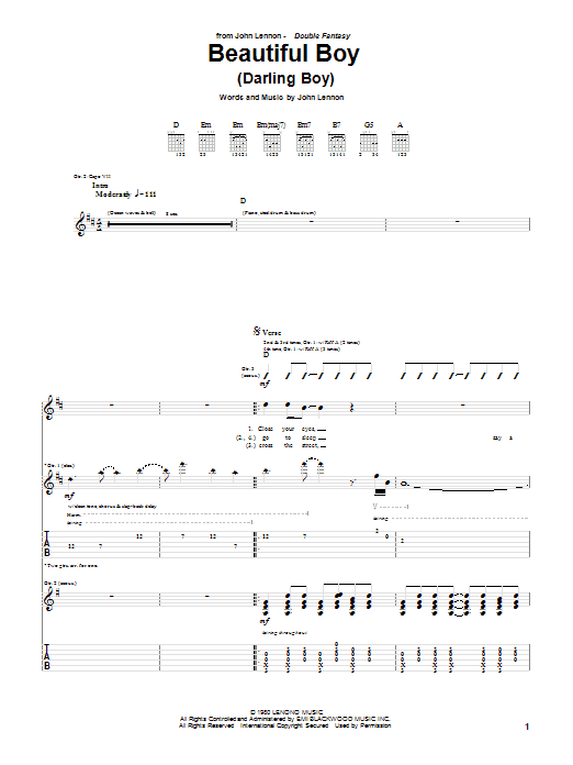 Tablature guitare Beautiful Boy (Darling Boy) de John Lennon - Tablature Guitare