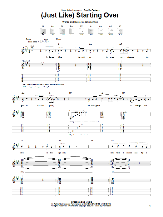 Tablature guitare (Just Like) Starting Over de John Lennon - Tablature Guitare