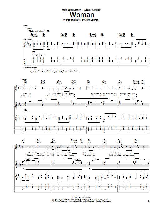 Tablature guitare Woman de John Lennon - Tablature Guitare