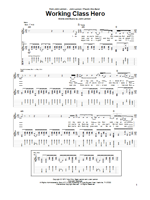 Tablature guitare Working Class Hero de John Lennon - Tablature Guitare