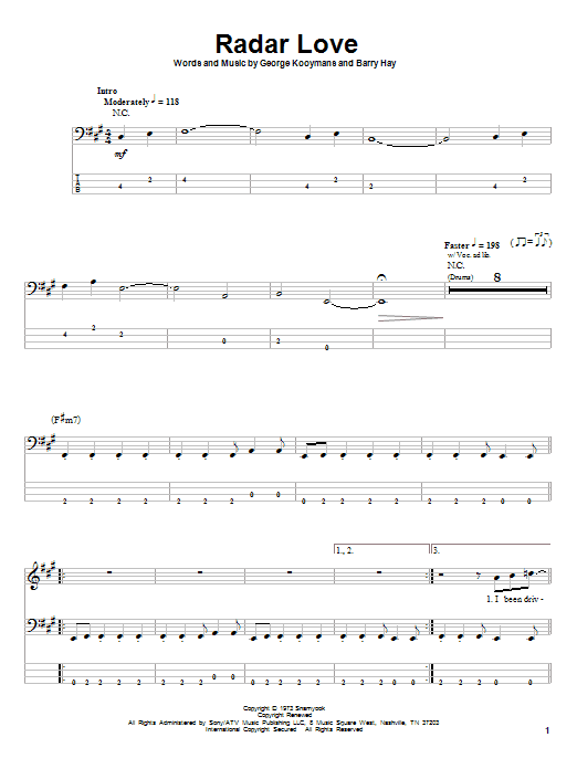 Radar Love (Bass Guitar Tab)
