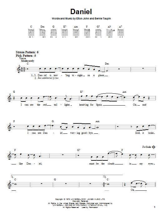 Tablature guitare Daniel de Elton John - Tablature guitare facile