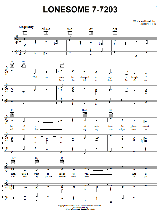 Lonesome 7-7203 (Piano, Vocal & Guitar (Right-Hand Melody))