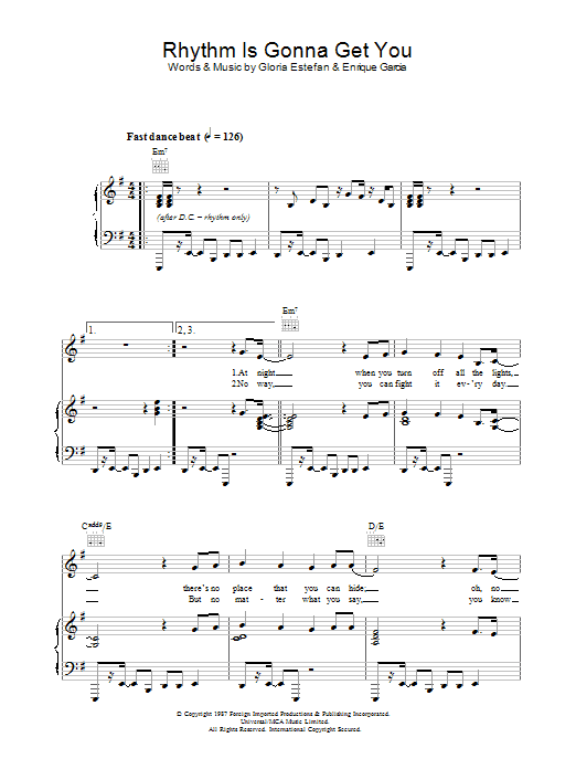 Rhythm Is Gonna Get You (Piano, Vocal & Guitar)