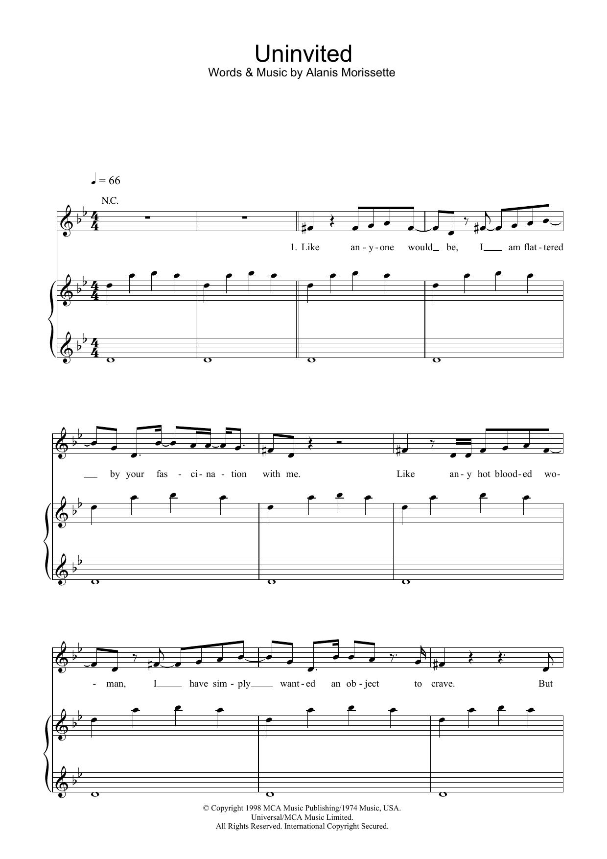 Uninvited (Piano, Vocal & Guitar)