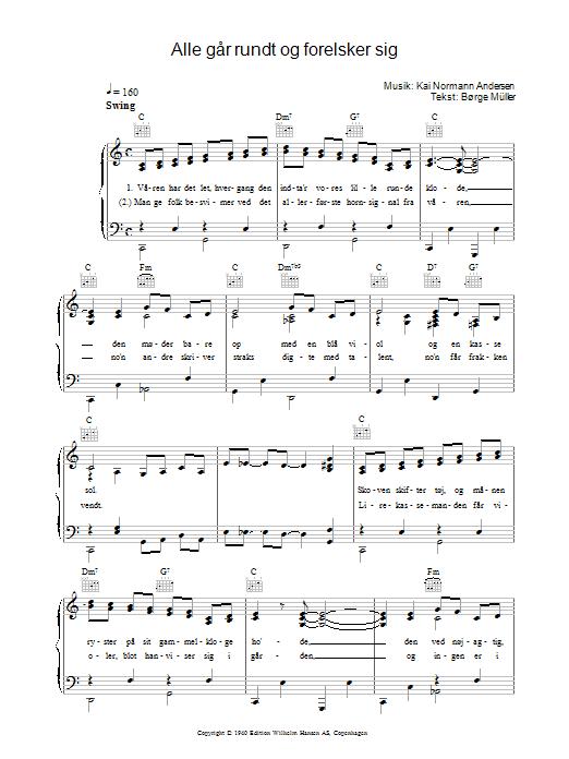 Alle Går Rundt Og Forelsker Sig Sheet Music