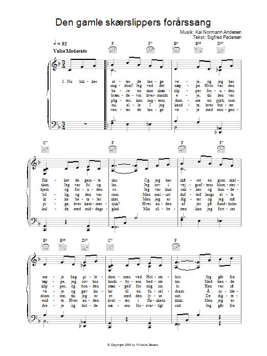 Den Gamle Skærslippers Forårssang Sheet Music