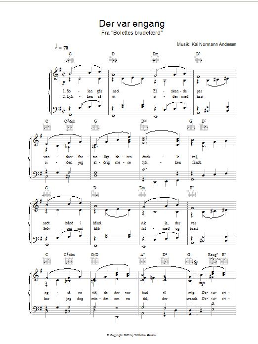 Der Var Engang (Piano, Vocal & Guitar)
