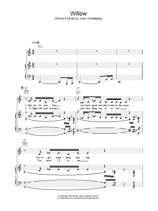 Willow (Piano, Vocal & Guitar)