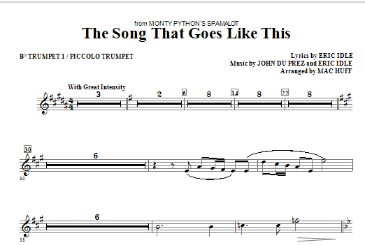 The Song That Goes Like This (complete set of parts) sheet music for orchestra/band (Special) by Mac Huff, Eric Idle and John Du Prez. Score Image Preview.