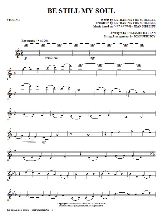 Be Still My Soul (complete set of parts) sheet music for orchestra/band (Strings) by Benjamin Harlan, Jane L. Borthwick and Jean Sibelius. Score Image Preview.