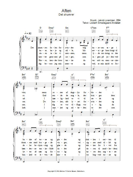 Aften - Det Skumrer (Piano, Vocal & Guitar)