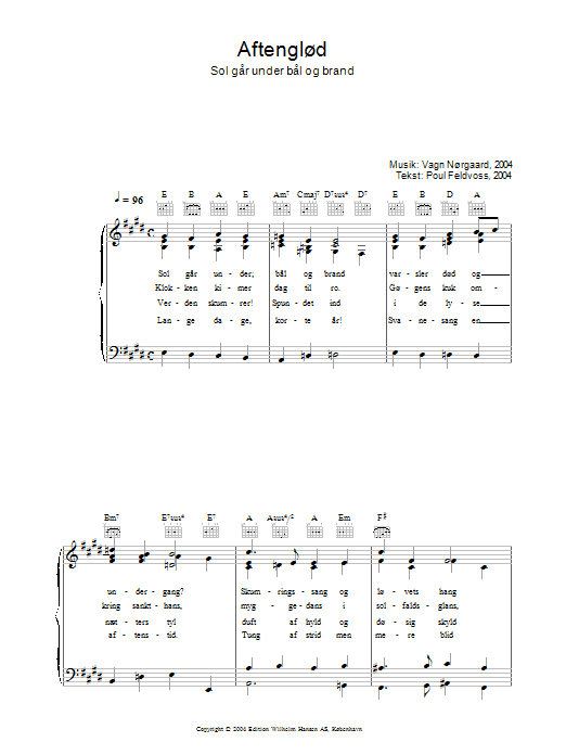 Aftenglød - Sol Går Under Bål Og Brand Sheet Music
