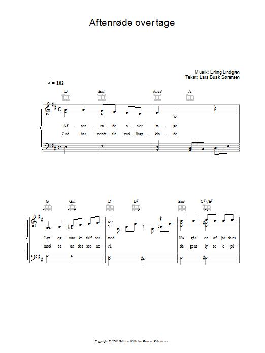 Aftenrøde Over Tage (Piano, Vocal & Guitar)