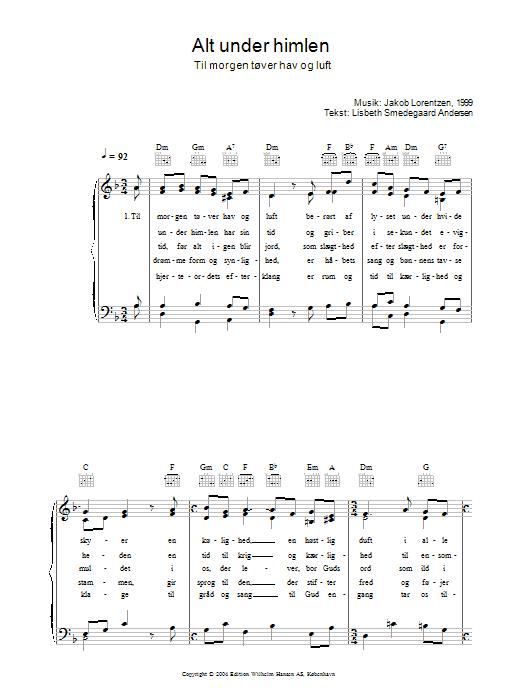 Alt Under Himlen - Til Morgen Tøver Hav Og Luft Sheet Music