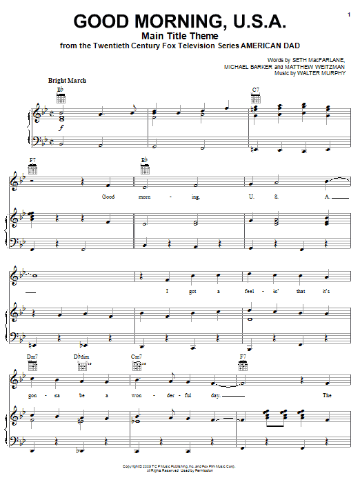 American Dad - Main Title Theme (Good Morning U.S.A.) Sheet Music